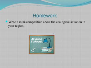 Homework  Write a mini-composition about the ecological situation in your reg