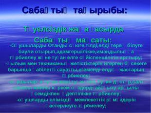 Сабақтың тақырыбы: Тәуелсіздік жаңа ғасырда Сабақтың мақсаты: -Оқушыларды Ота