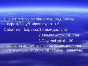 Көрнекілігі:ту,әнұран,елтаңба,Елбасы суреті,Т.Әубәкіров суреті т.б. Сабақтың