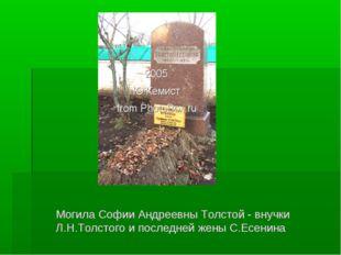 Могила Софии Андреевны Толстой - внучки Л.Н.Толстого и последней жены С.Есенина