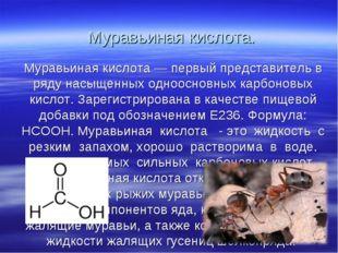 Муравьиная кислота. Муравьиная кислота — первый представитель в ряду насыщенн