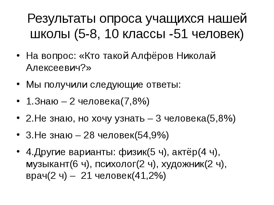 Результаты опроса учащихся нашей школы (5-8, 10 классы -51 человек) На вопрос...