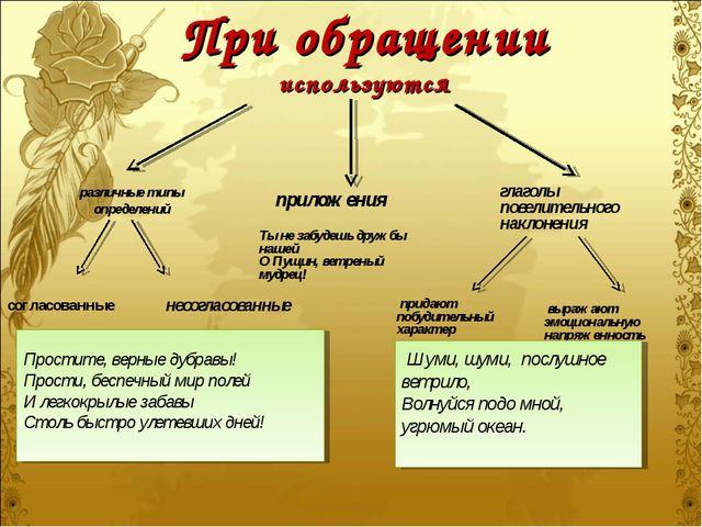 При обращении используются различные типы определений согласованные приложени...