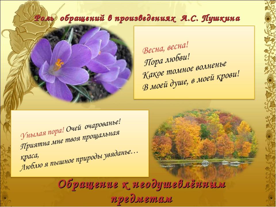 Роль обращений в произведениях А.С. Пушкина Обращение к неодушевлённым предме...