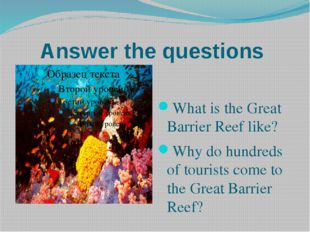 Answer the questions What is the Great Barrier Reef like? Why do hundreds of