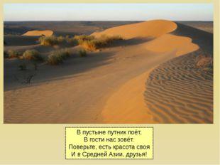 В пустыне путник поёт, В гости нас зовёт. Поверьте, есть красота своя И в Сре