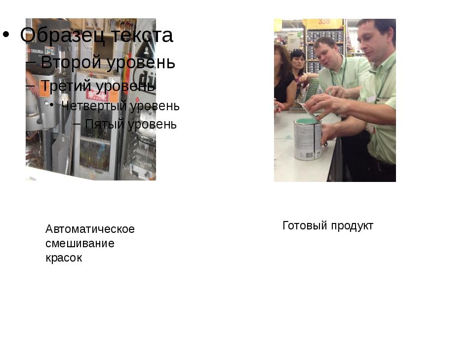 Автоматическое смешивание красок Готовый продукт
