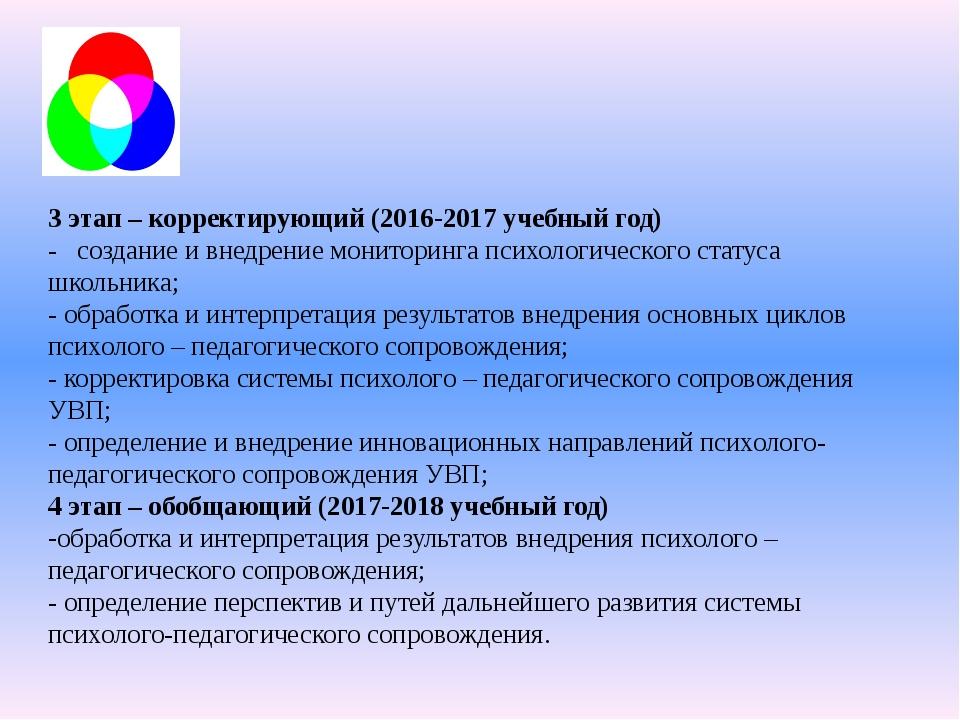 3 этап – корректирующий (2016-2017 учебный год) - создание и внедрение монит...