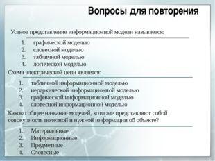 Устное представление информационной модели называется: графической моделью сл