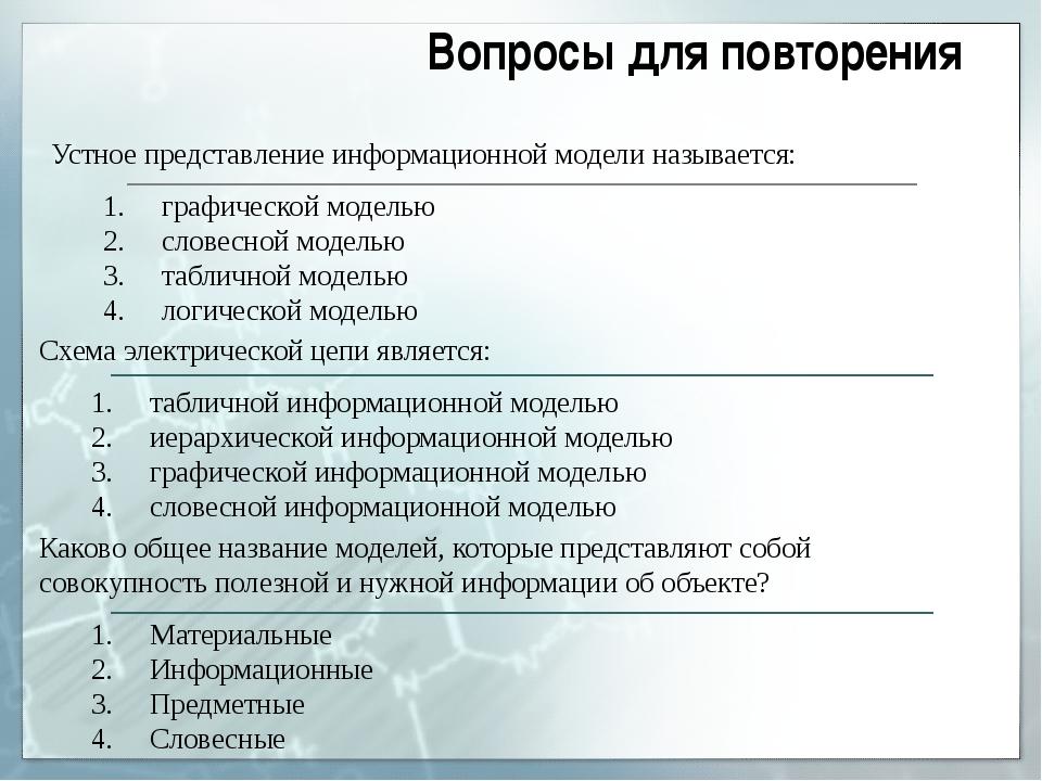 Устное представление информационной модели называется: графической моделью сл...