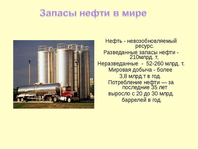 Нефть - невозобновляемый ресурс. Разведанные запасы нефти - 210млрд. т, Нераз...