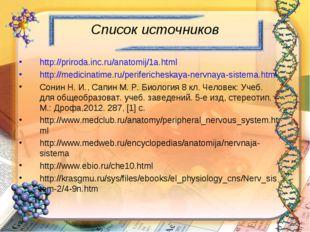 Список источников http://priroda.inc.ru/anatomij/1a.html http://medicinatime.