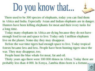 There used to be 300 species of elephants, today you can find them in Africa