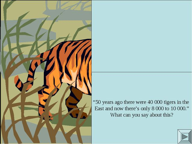 """50 years ago there were 40 000 tigers in the East and now there's only 8 000..."