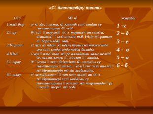 «Сәйкестендіру тесті» СөзМәніжауабы 1.жаңбыр 2.Қар 3.Бұршақ 4.Шық 5.Қырау 6