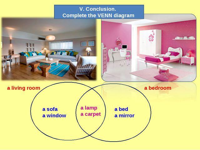 a living room a bedroom a sofa a window a bed a mirror a lamp a carpet V. Con...
