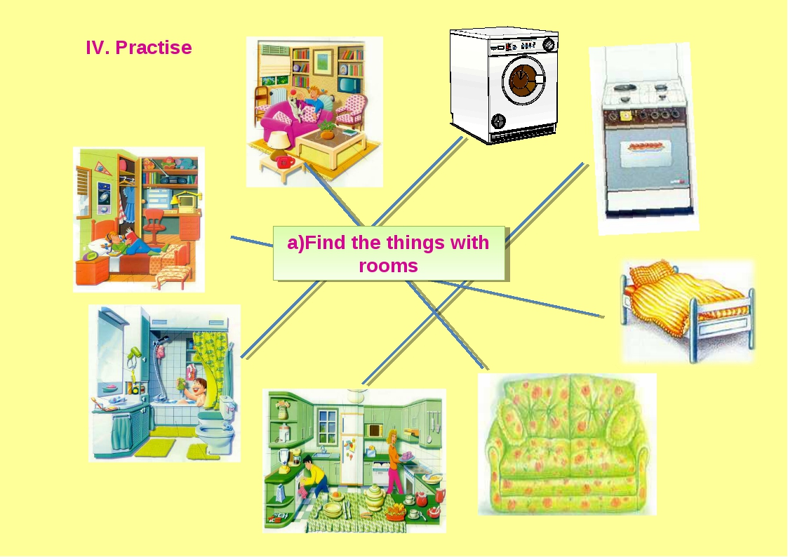 IV. Practise a)Find the things with rooms