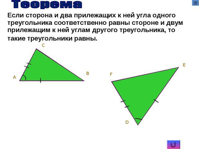 C A B D E F Если сторона и два прилежащих к ней угла одного треугольника соот...