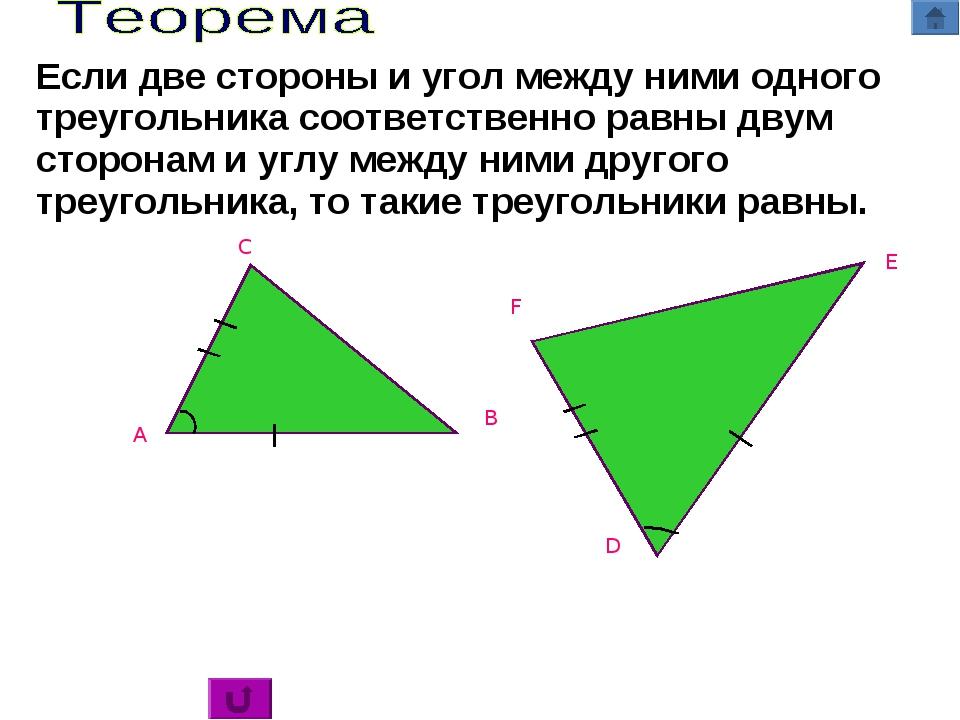 C A B D E F Если две стороны и угол между ними одного треугольника соответств...