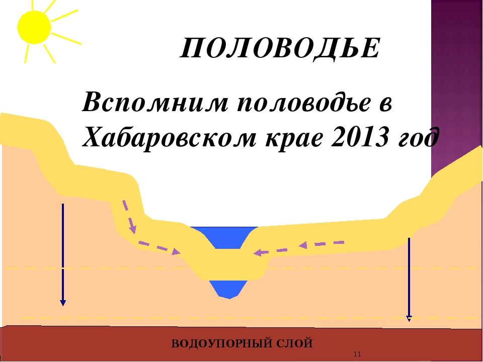ВОДОУПОРНЫЙ СЛОЙ ПОЛОВОДЬЕ Вспомним половодье в Хабаровском крае 2013 год *