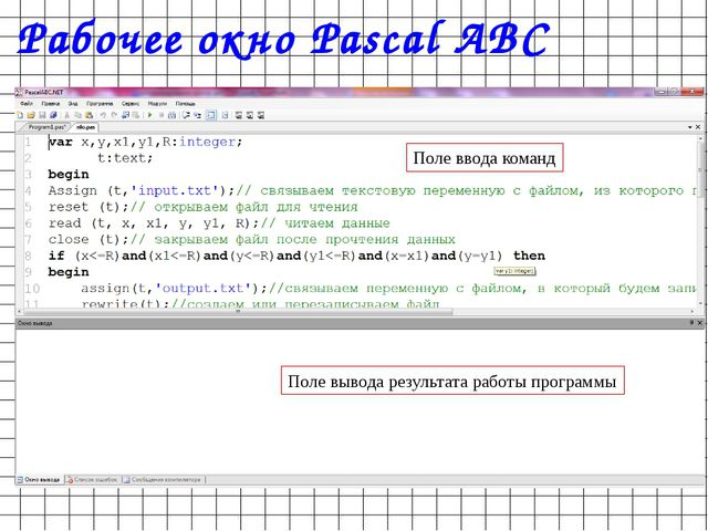 Рабочее окно Pascal ABC Поле ввода команд Поле вывода результата работы прогр...