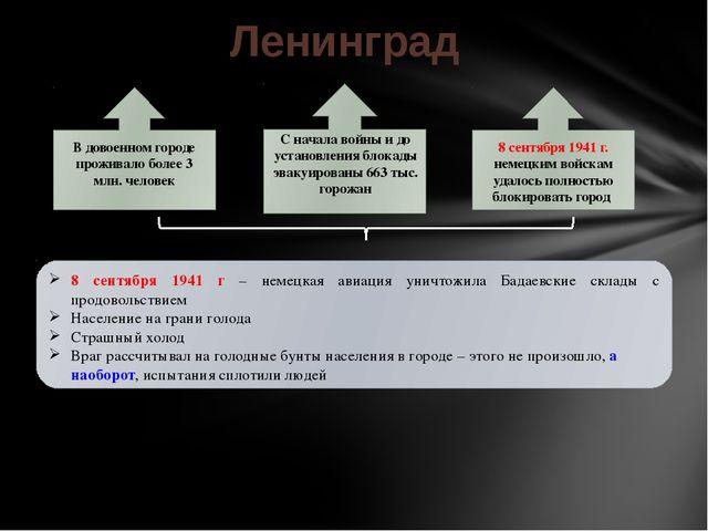 Ленинград В довоенном городе проживало более 3 млн. человек С начала войны и...