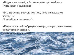 «Вода- мать полей, а без матери не проживёшь ». (Китайская пословица) «Мы не