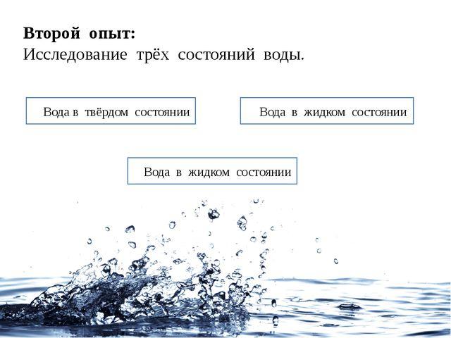Второй опыт: Исследование трёх состояний воды. Вода в твёрдом состоянии Вода...