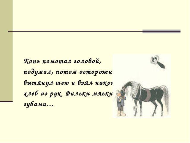 Конь помотал головой, подумал, потом осторожно вытянул шею и взял наконец хл...