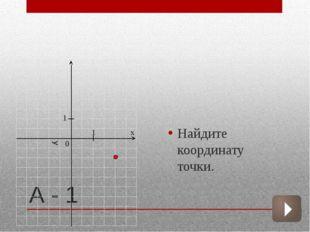 А - 1 Найдите координату точки.  х 1 1 0 у
