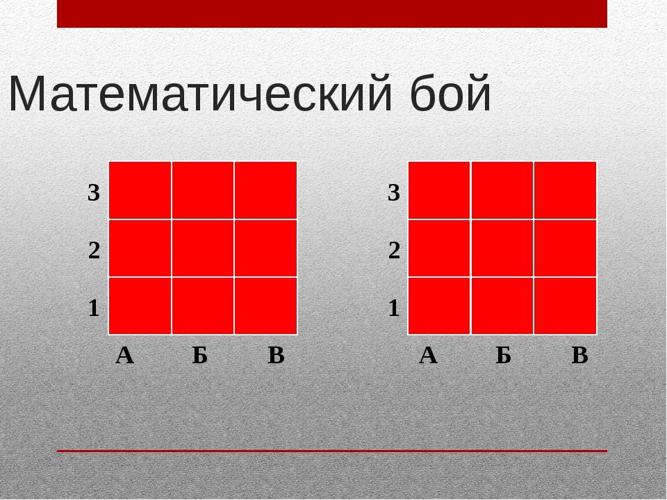 Математический бой А Б В А Б В 3 2 1 3 2 1