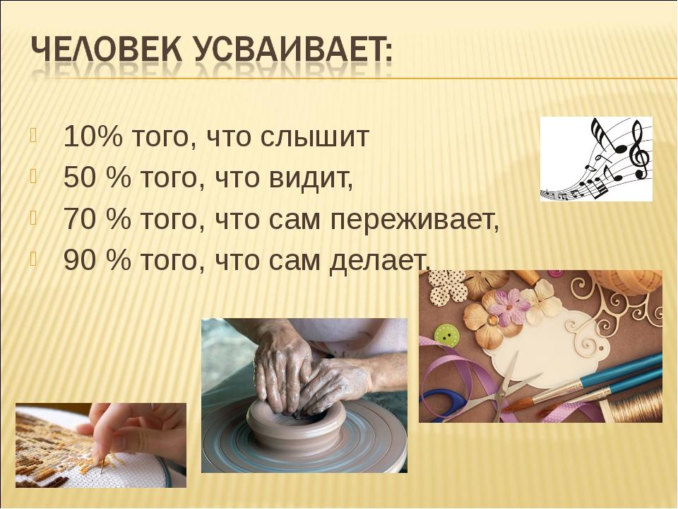 10% того, что слышит 50 % того, что видит, 70 % того, что сам переживает,...