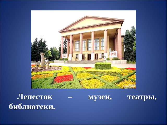 Лепесток – музеи, театры, библиотеки.