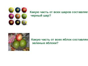 Какую часть от всех шаров составляет черный шар? Какую часть от всех яблок со