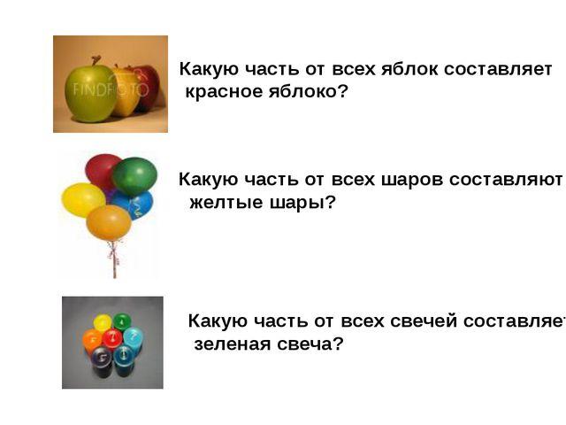 Какую часть от всех яблок составляет красное яблоко? Какую часть от всех шаро...