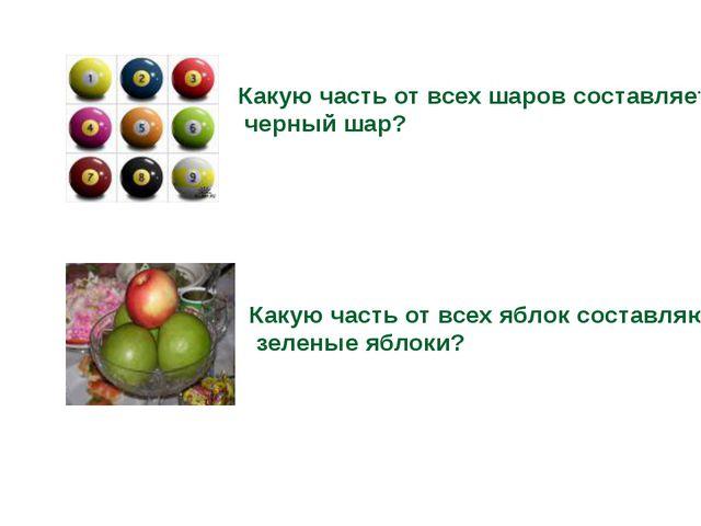 Какую часть от всех шаров составляет черный шар? Какую часть от всех яблок со...