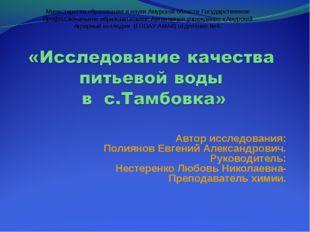Автор исследования: Полиянов Евгений Александрович. Руководитель: Нестеренко
