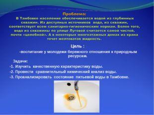 Цель : -воспитание у молодежи бережного отношения к природным ресурсам. Задач