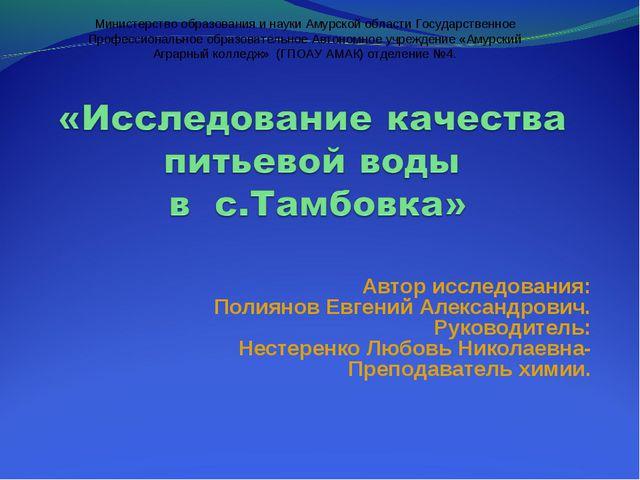 Автор исследования: Полиянов Евгений Александрович. Руководитель: Нестеренко...