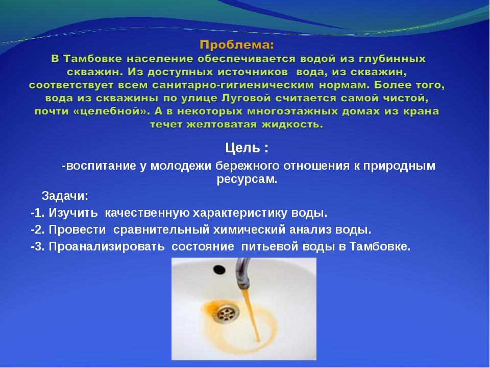 Цель : -воспитание у молодежи бережного отношения к природным ресурсам. Задач...