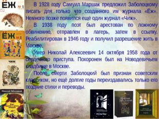 Заболоцкий Николай Алексеевич Учитель русского языка и литературы МБОУ «Черно