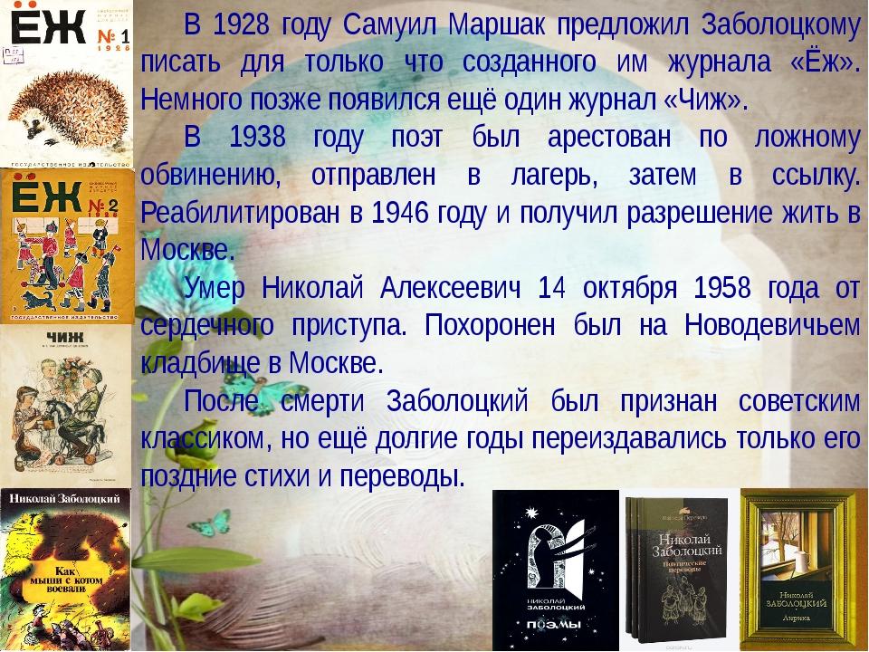 Заболоцкий Николай Алексеевич Учитель русского языка и литературы МБОУ «Черно...