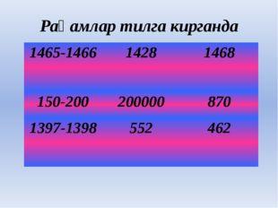 Рақамлар тилга кирганда 1465-1466 1428 1468 150-200 200000 870 1397-1398 552