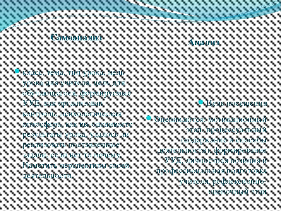 Самоанализ Анализ класс, тема, тип урока, цель урока для учителя, цель для об...