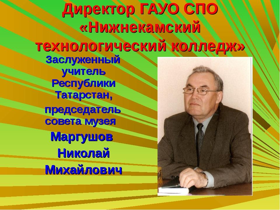 Директор ГАУО СПО «Нижнекамский технологический колледж» Заслуженный учитель...