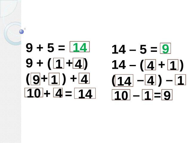 9 + 5 = 9 + ( + ) ( + ) + + = 14 – 5 = 14 – ( + ) ( – ) – – = 1 4 4 4 1 9 10...