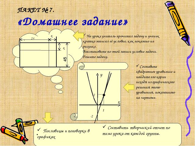 ПАКЕТ № 7. «Домашнее задание» . 25 х х На уроке учитель прочитал задачу и уче...