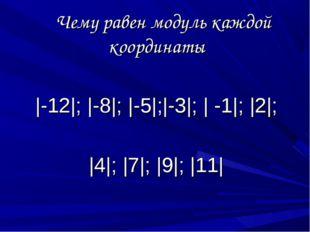 Чему равен модуль каждой координаты |-12|; |-8|; |-5|;|-3|; | -1|; |2|; |4|;