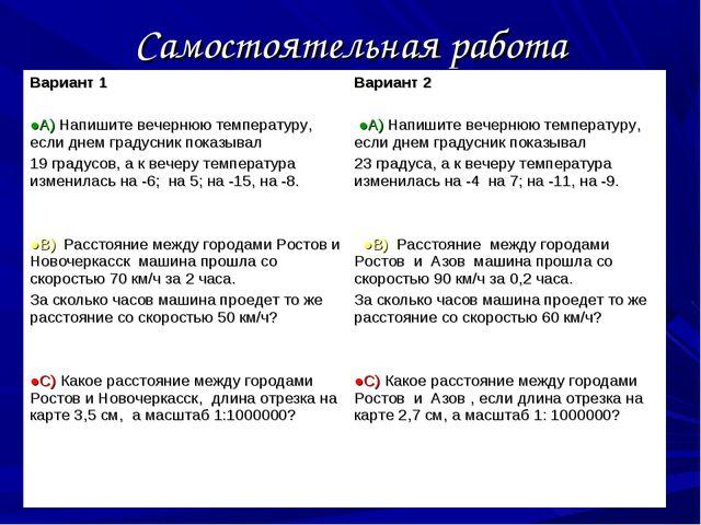 Самостоятельная работа Вариант 1 ●А) Напишите вечернюю температуру, если днем...