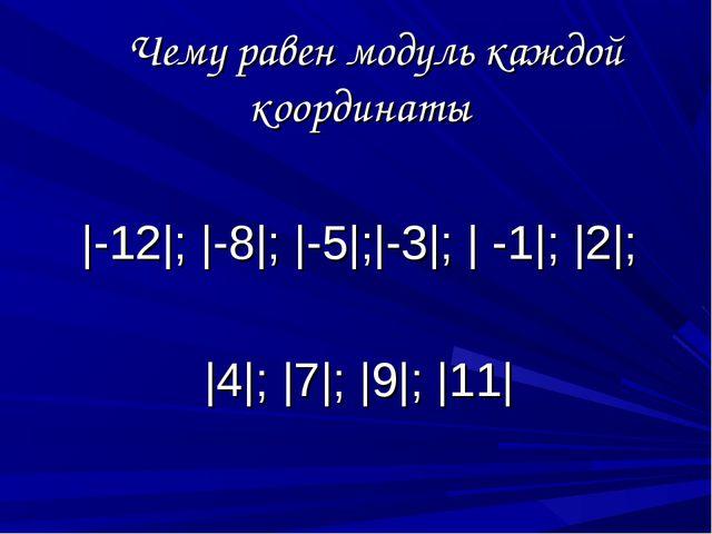 Чему равен модуль каждой координаты |-12|; |-8|; |-5|;|-3|; | -1|; |2|; |4|;...